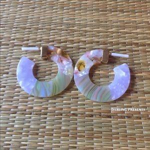 DARLING Jewelry - ACRYLIC MARBLED HOOP EARRINGS